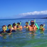 Snorkel group on surface