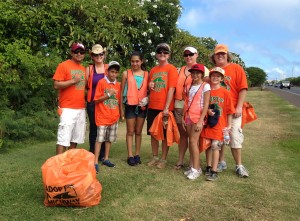 Here's our cleanup crew during our Adopt-A-Highway cleanup on Sept.23,2012. Big Mahalo's to all !!