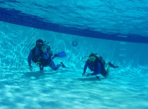 Intro Scuba Dive pool training in the deep end (6 feet) with Tiny Bubbles Scuba at Ka'anapali Beach Club