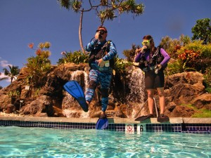 Giant Stride into KBC pool with Tiny Bubbles Scuba